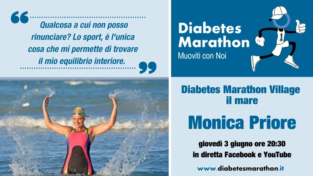 """Diabetes Marathon Village, """"il Mare"""", Giovedì 3 Giugno Alle Ore 20.30 Con Monica Priore E La Sua Traversata Dello Stretto Di Messina Con Il Diabete"""