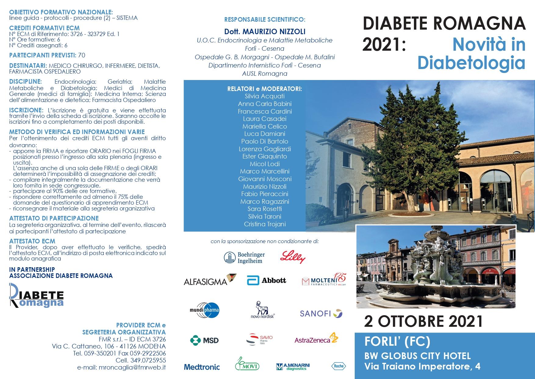 Novità In Diabetologia,sabato 2 Ottobre Al BW Globus City Hotel Di Forlì Un Convegno ECM Dedicato A Medici, Farmacisti E Infermieri In Partnership Con L'associazione Diabete Romagna